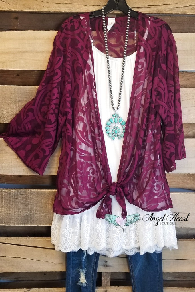 Let's Jet Set Cardigan - Burgundy [product type] - Angel Heart Boutique