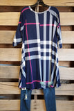 Best Plaid Ever Tunic - Navy [product type] - Angel Heart Boutique