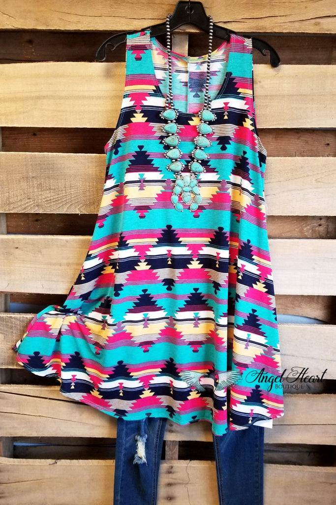 Aztec Sleeveless Tunic Dress [product type] - Angel Heart Boutique