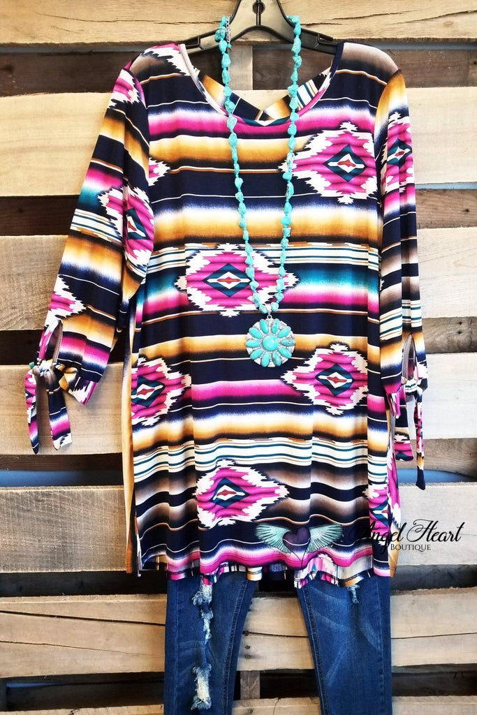 My Aztec Soul Top - Navy [product type] - Angel Heart Boutique