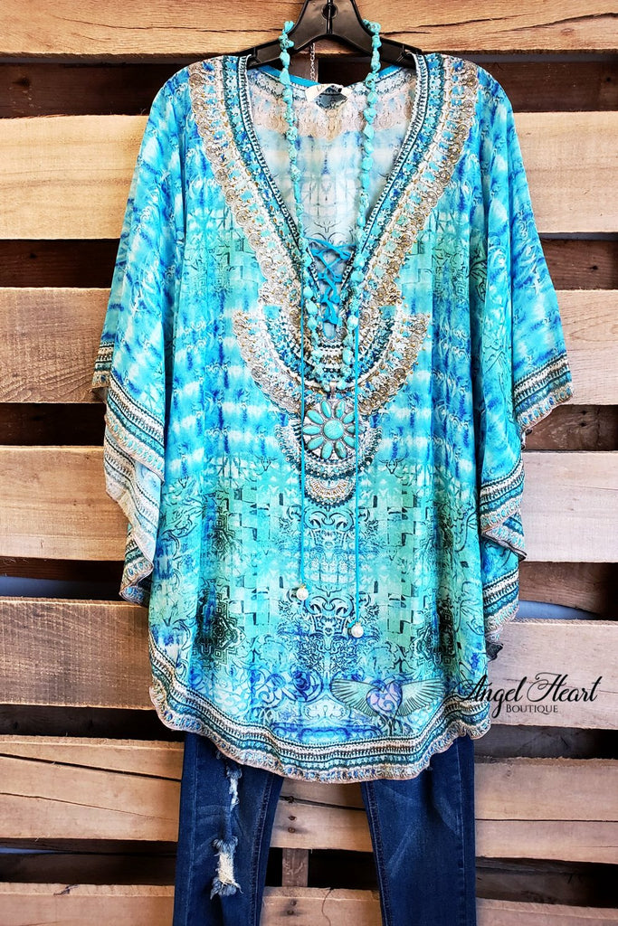 Flower Child Oversized Sheer Tunic  - Blue [product type] - Angel Heart Boutique