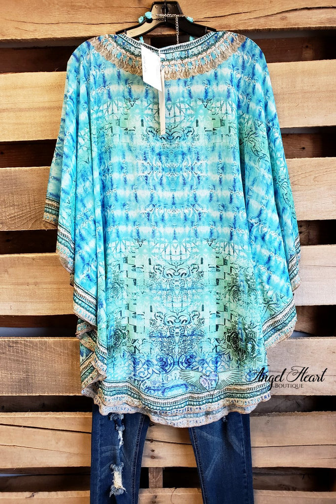Flower Child Oversized Sheer Tunic  - Blue