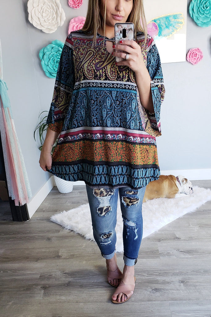 See The Beauty Tunic Top - Teal Mix [product type] - Angel Heart Boutique