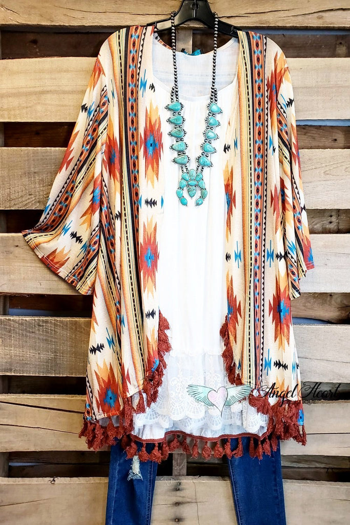 Western Vibes Kimono -Taupe [product type] - Angel Heart Boutique