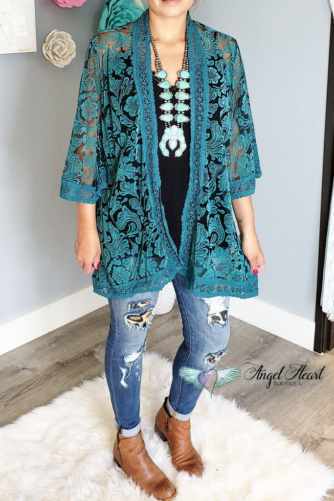 As You Wish Kimono - Turquoise [product type] - Angel Heart Boutique