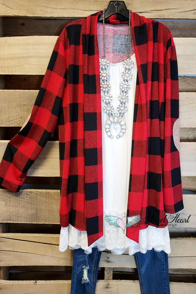 My Favorite Plaid Cardigan - Red