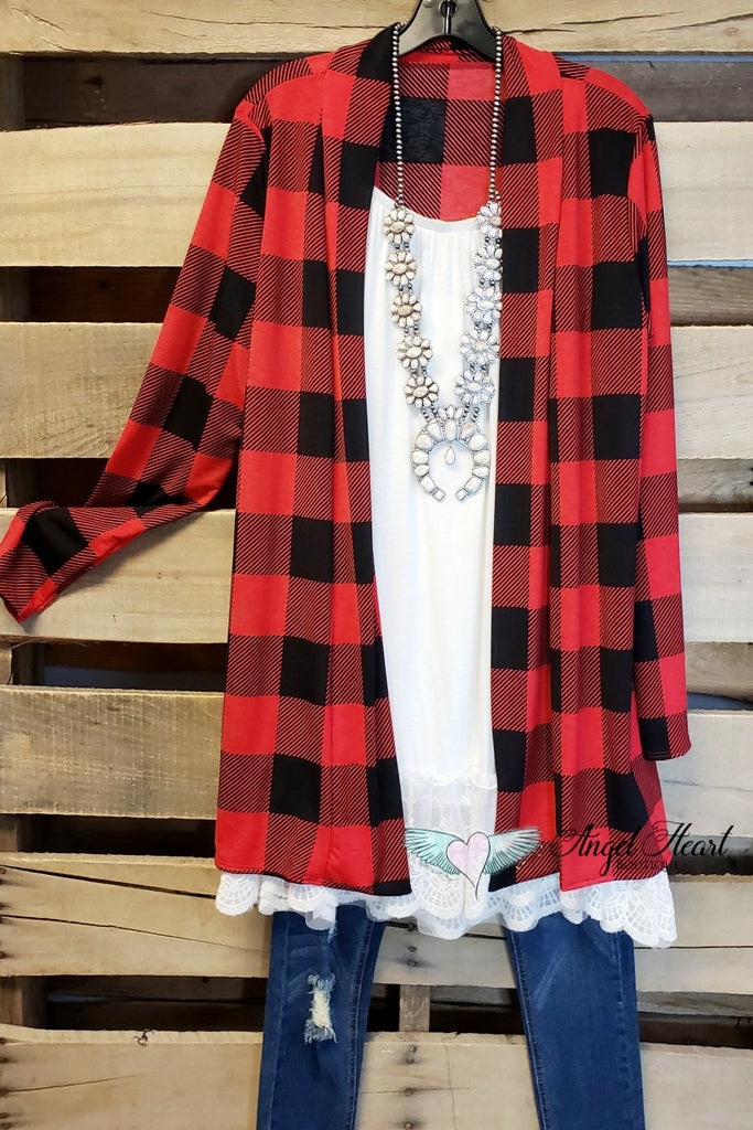 Stay In The Known Cardigan - Red Plaid [product type] - Angel Heart Boutique