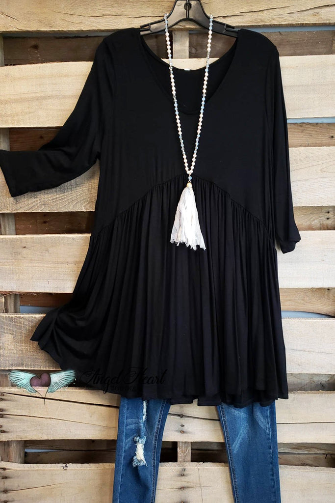 Not So Simple Top - Black-BLACK FRIDAY [product type] - Angel Heart Boutique