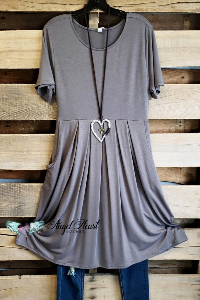 Best Cut Dress - Grey [product type] - Angel Heart Boutique
