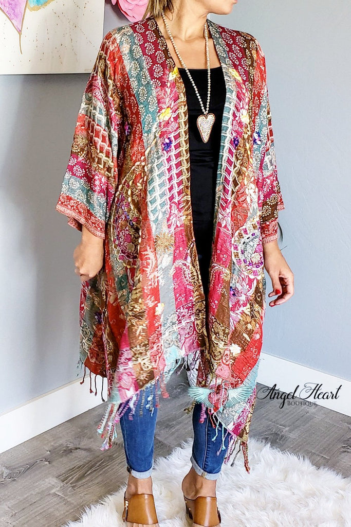 AHB EXCLUSIVE:  Woven Shawl - Fuschia Mix [product type] - Angel Heart Boutique