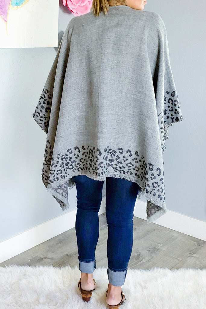 Leopard Feeling Poncho - Grey [product type] - Angel Heart Boutique