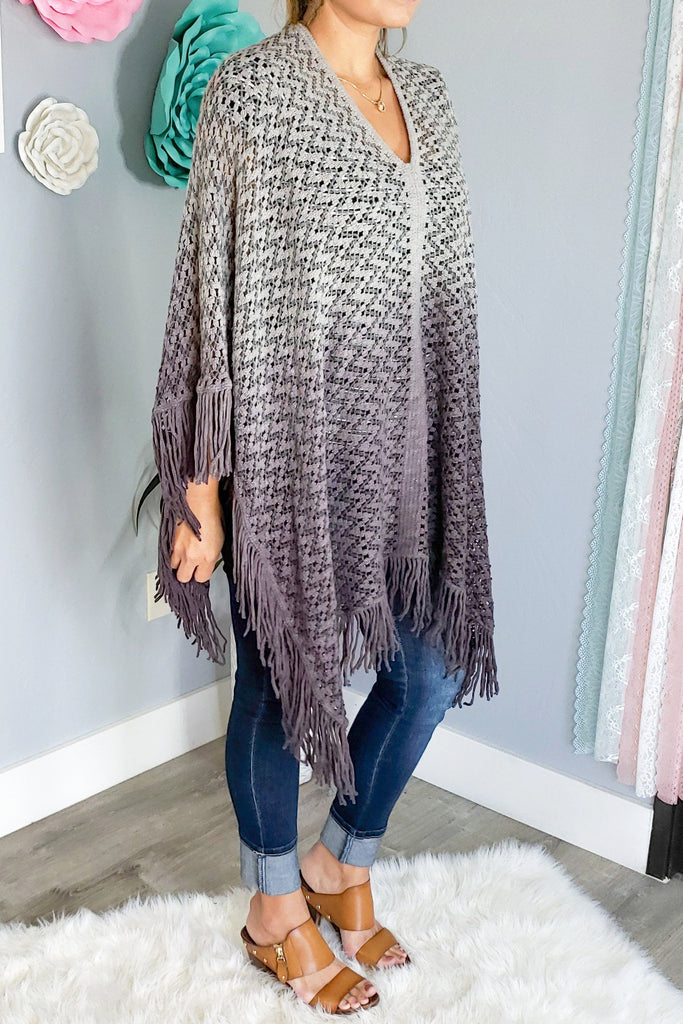 Such a Fun Piece Poncho - Gray [product type] - Angel Heart Boutique