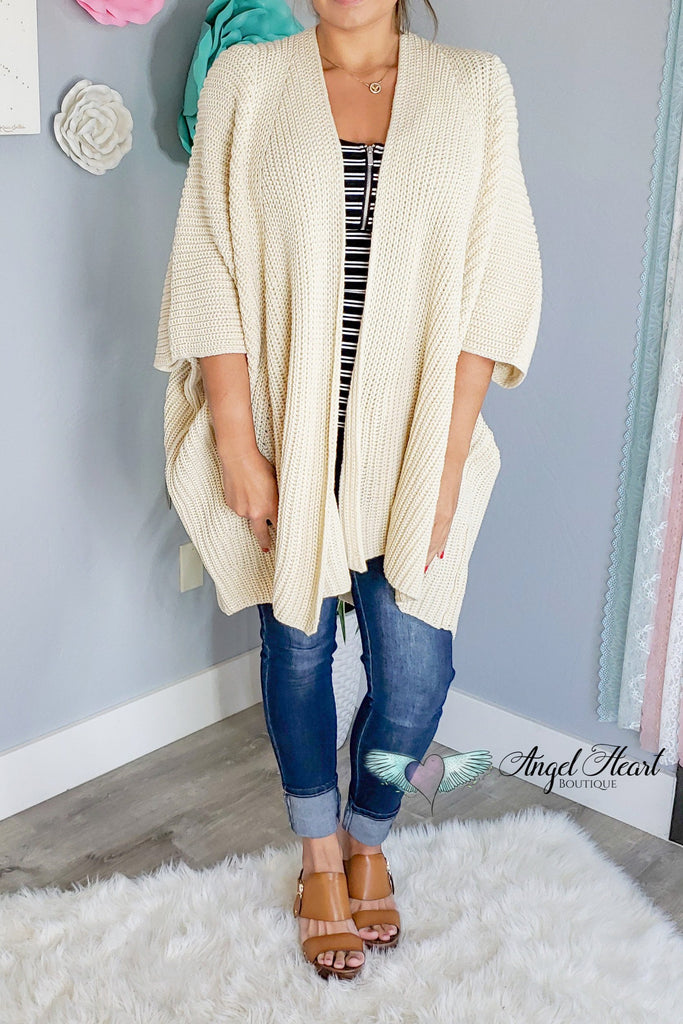 The Coziest Sweater Kimono - Beige [product type] - Angel Heart Boutique