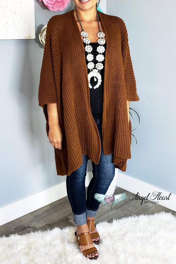 The Coziest Sweater Kimono - Tan [product type] - Angel Heart Boutique