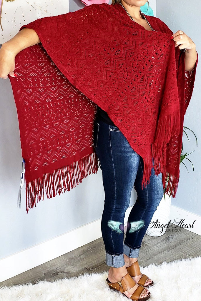 My Favorite Fall Piece Shawl - Red [product type] - Angel Heart Boutique