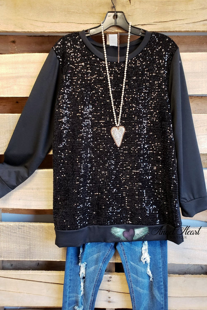 Sequin Tales Top - Black
