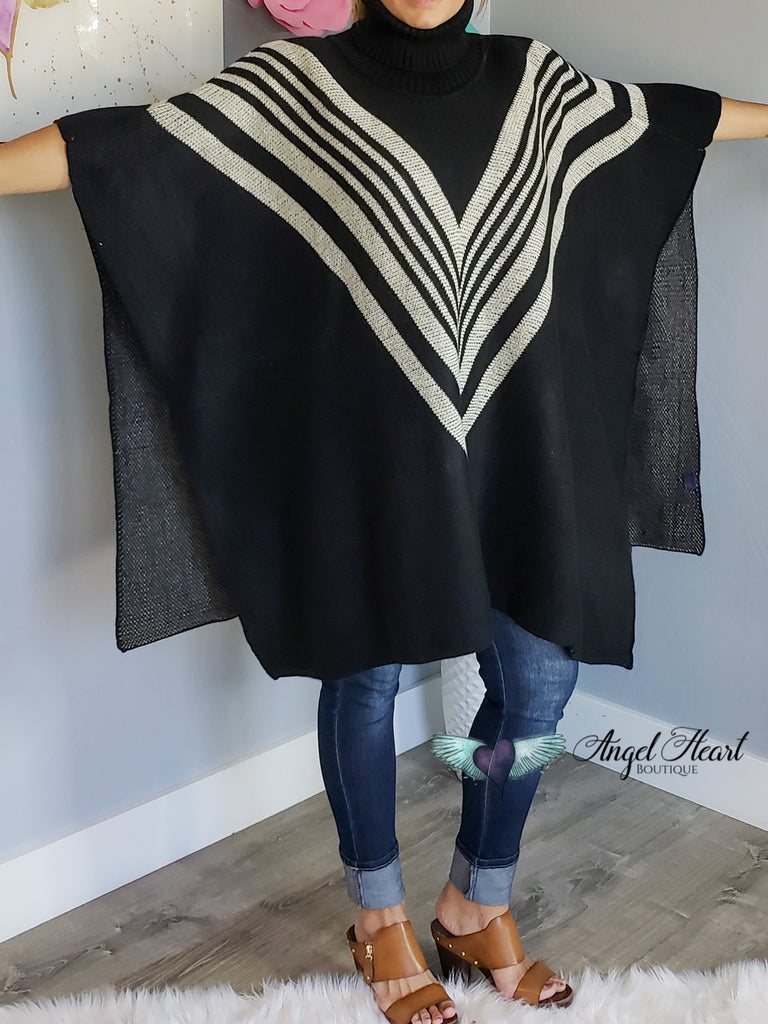 Classic Stripes Turtle Neck Poncho - Black [product type] - Angel Heart Boutique