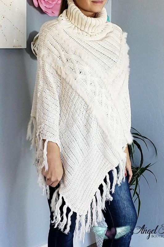 Snuggled Up Poncho - Beige [product type] - Angel Heart Boutique