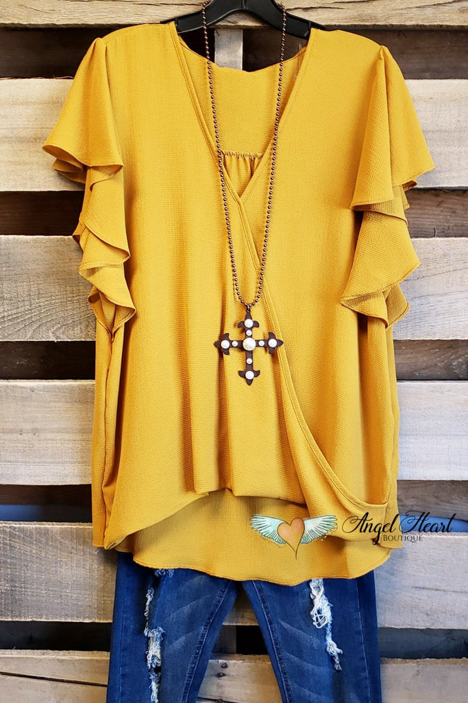 Rare Feelings Top - Mustard [product type] - Angel Heart Boutique
