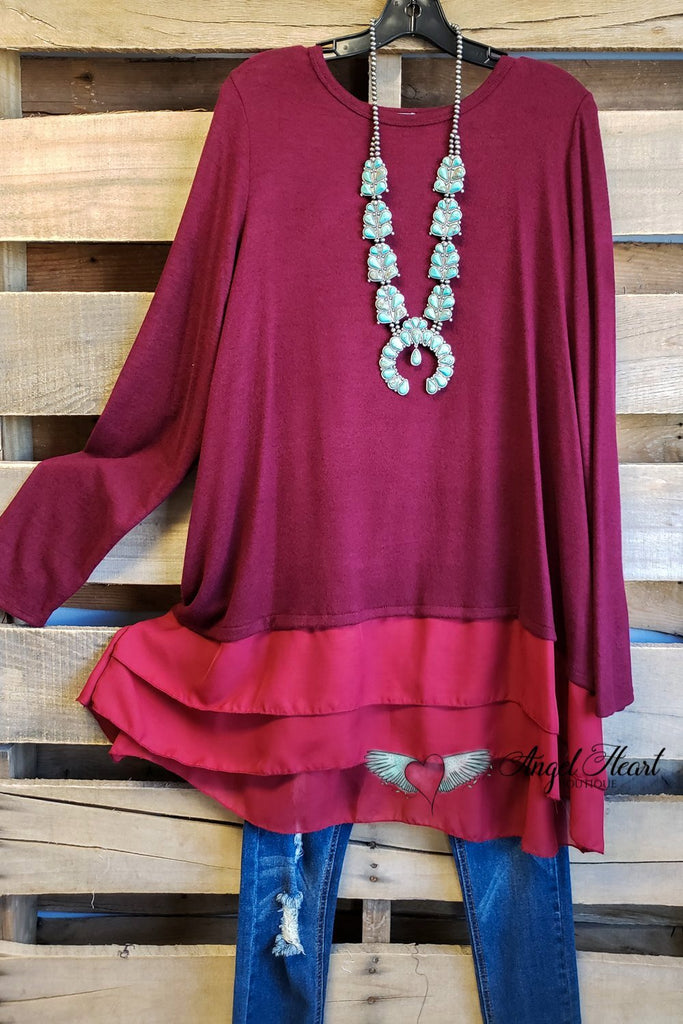 Lucky Break Top - Burgundy