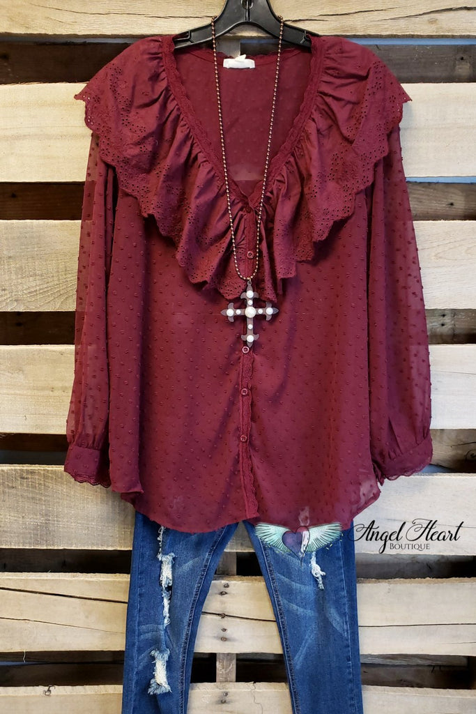 Southern Charm Top - Burgundy [product type] - Angel Heart Boutique