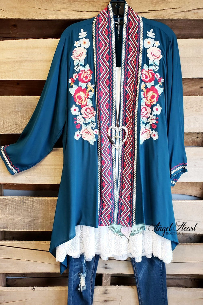 Long Time Favorite Cardigan - Teal [product type] - Angel Heart Boutique
