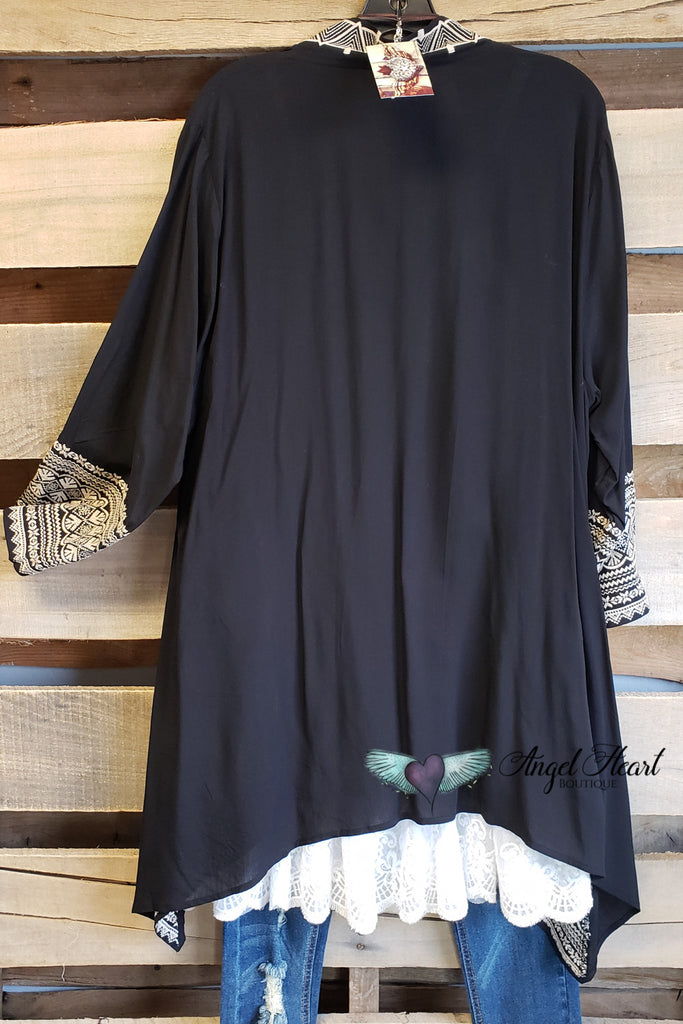 Chasing A Feeling Cardigan - Black [product type] - Angel Heart Boutique