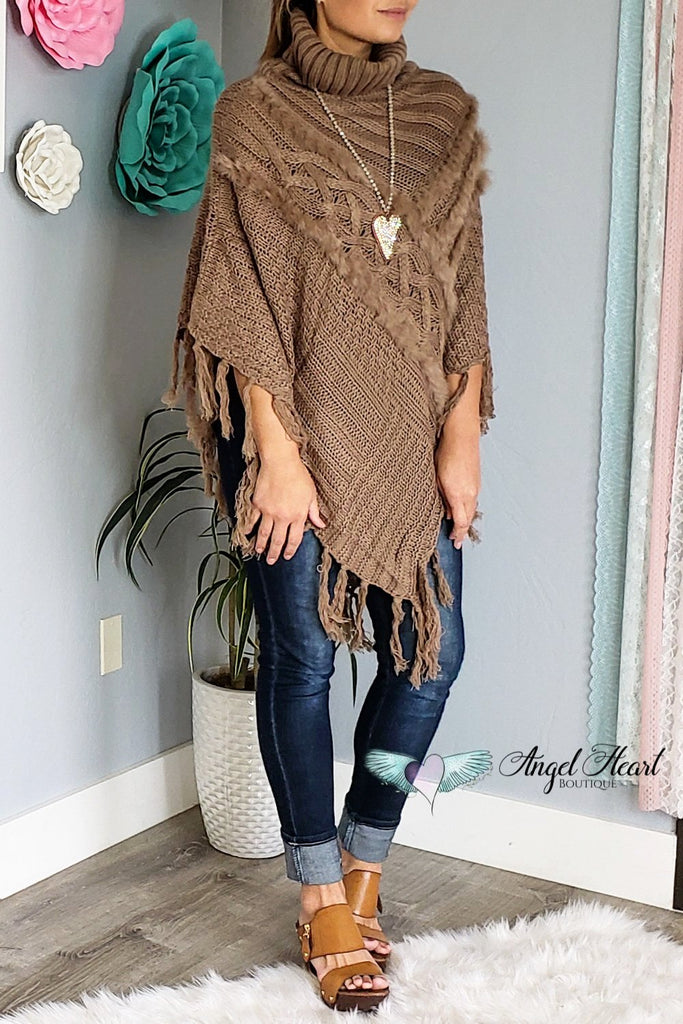 Snuggled Up Poncho - Mocha [product type] - Angel Heart Boutique