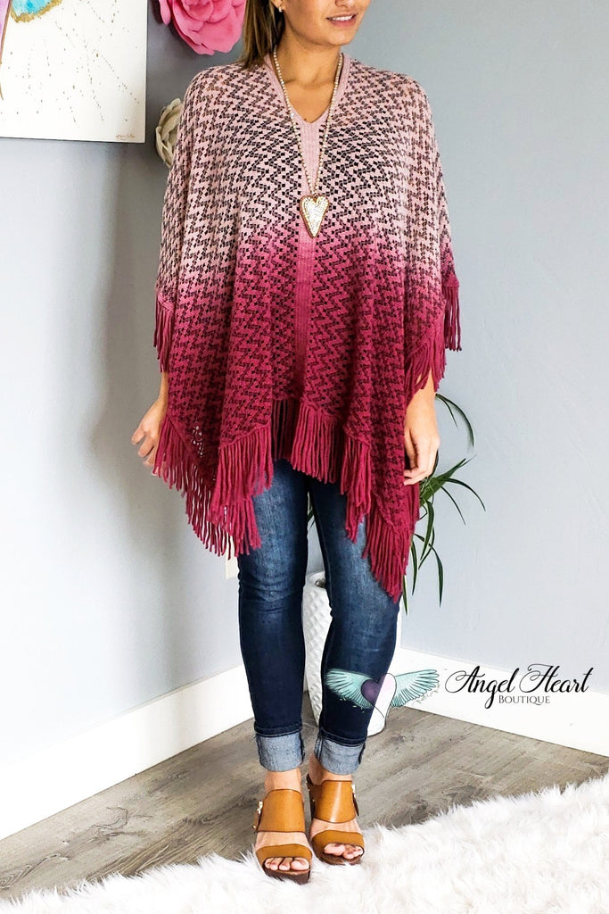 Such a Fun Piece Poncho - Burgundy [product type] - Angel Heart Boutique