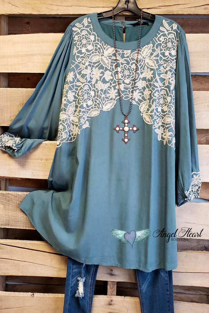 Locking Eyes Tunic Dress - Teal [product type] - Angel Heart Boutique