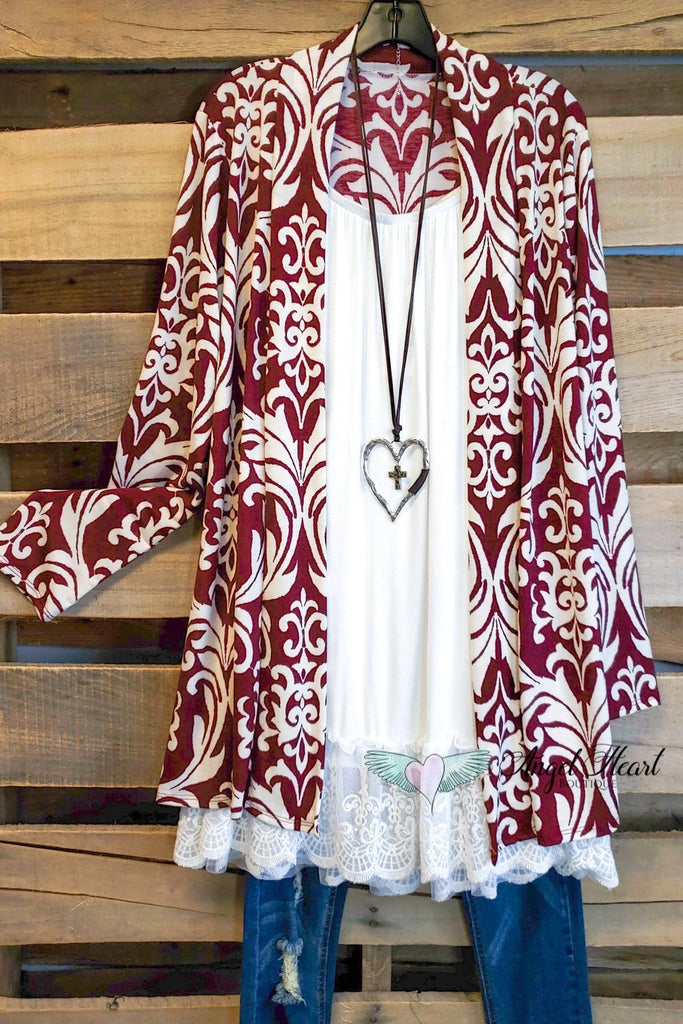 Damask Fairytale Cardigan - Burgundy [product type] - Angel Heart Boutique
