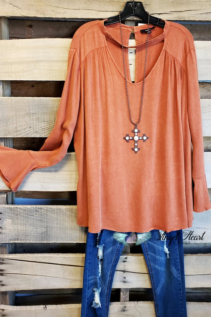 Pumpkin Spice Up Your Life Top - Rust [product type] - Angel Heart Boutique