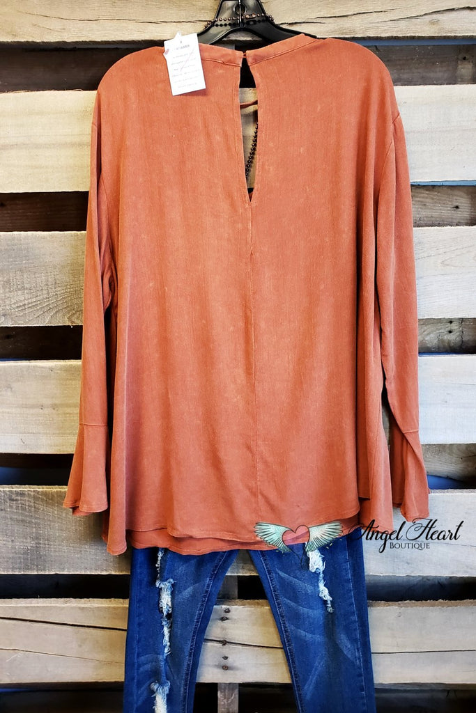 Pumpkin Spice Up Your Life Top - Rust - SALE