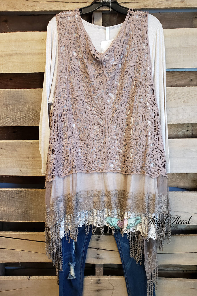 AHB EXCLUSIVE: My Lace Crochet Vest - Mocha