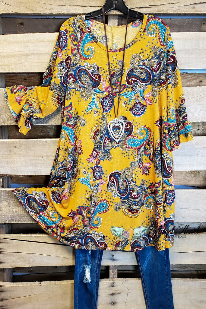 Hope For Something Tunic - Mustard [product type] - Angel Heart Boutique