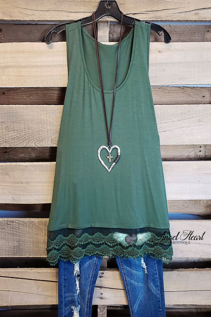 Extender: Slip on Tank/Tunic - Olive [product type] - Angel Heart Boutique