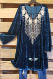 Fall is Calling Velvet Dress - Midnight Blue [product type] - Angel Heart Boutique