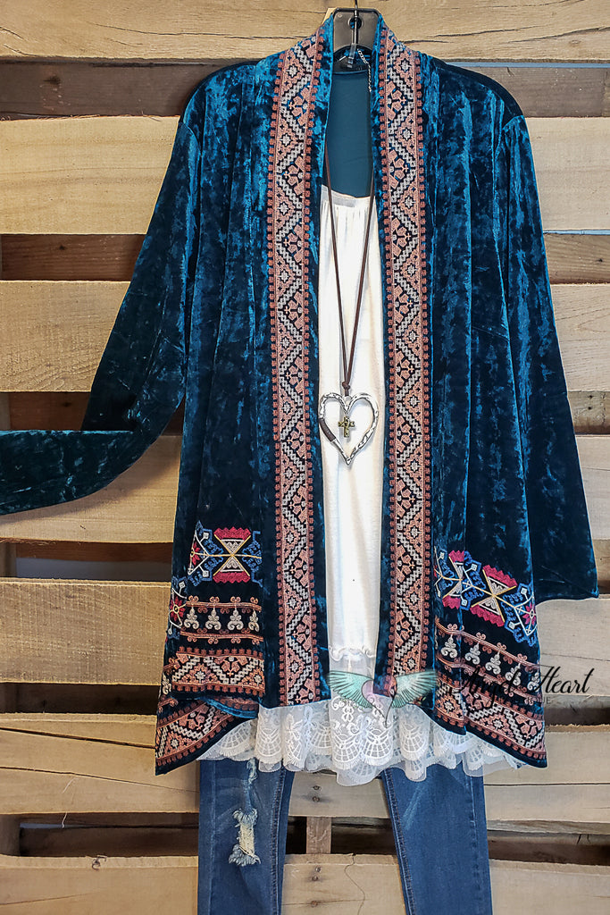 Call It Even Velvet Kimono - Dark Teal [product type] - Angel Heart Boutique