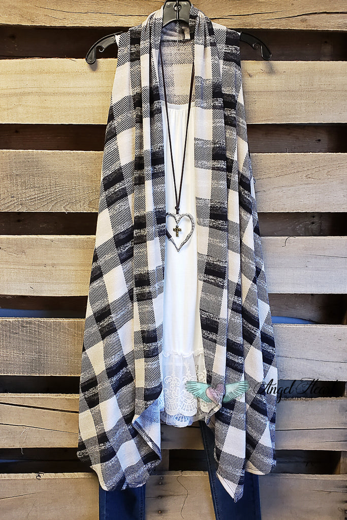 Classic Black And White Plaid Vest [product type] - Angel Heart Boutique