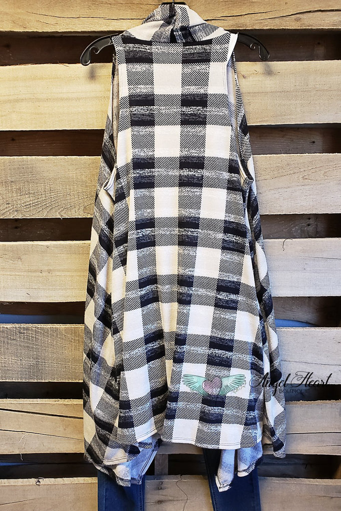 Classic Black And White Plaid Vest