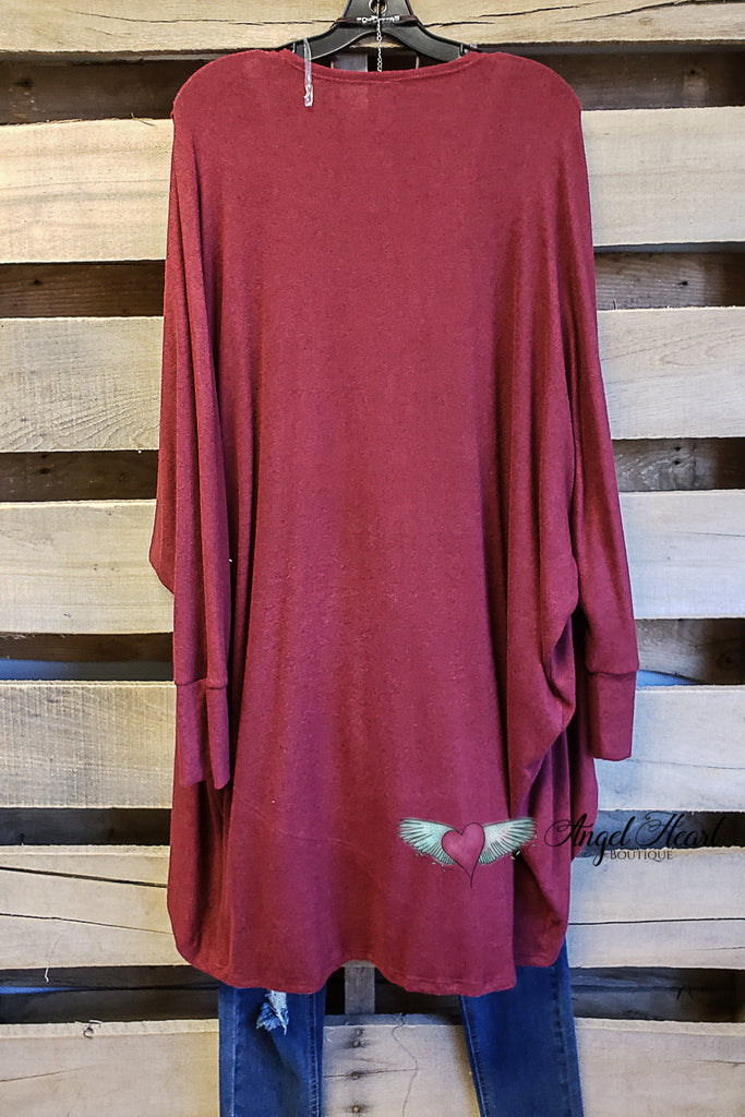 Solid Classic Cardigan - Burgundy [product type] - Angel Heart Boutique
