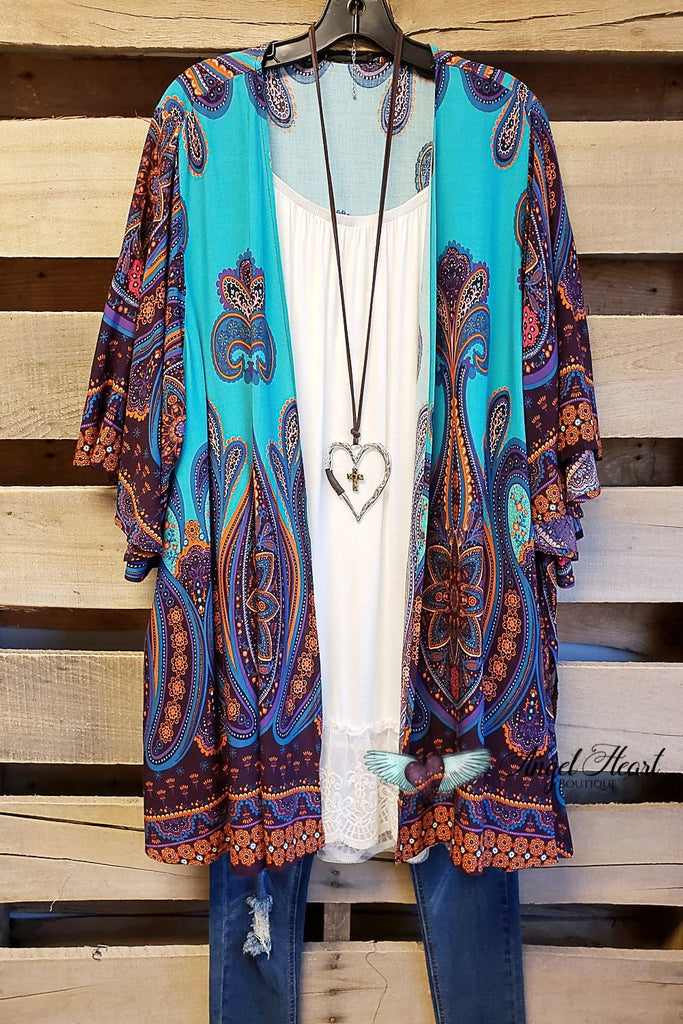 AHB EXCLUSIVE - Simple Bliss Kimono - Turquoise [product type] - Angel Heart Boutique
