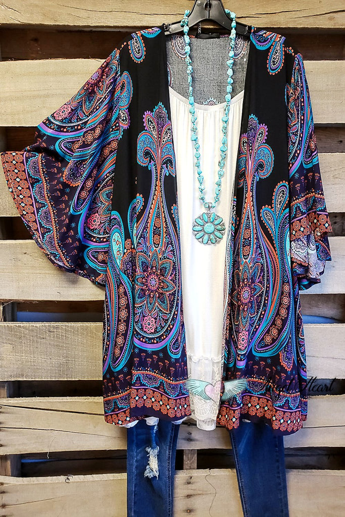 AHB EXCLUSIVE - Simple Bliss Kimono - Navy [product type] - Angel Heart Boutique