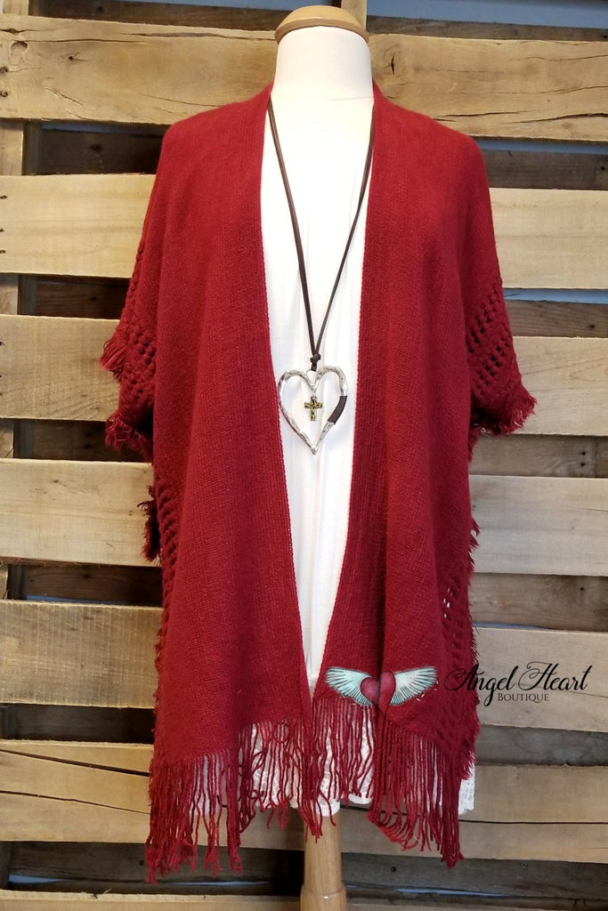 Coming Back Around Poncho - Burgundy/Red