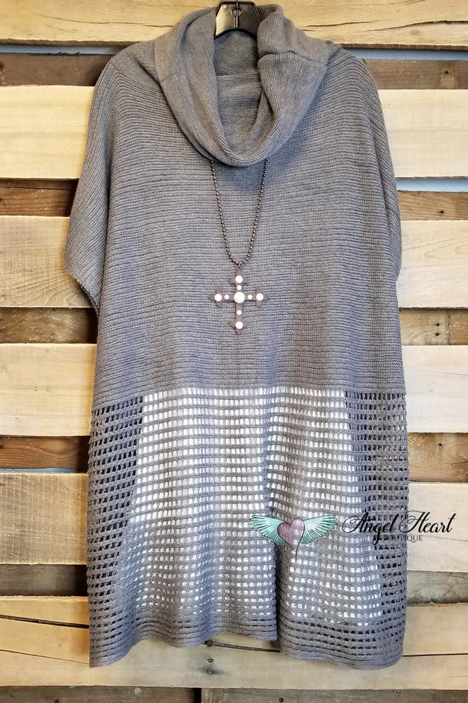 Hold My Hand Poncho - Charcoal - SALE