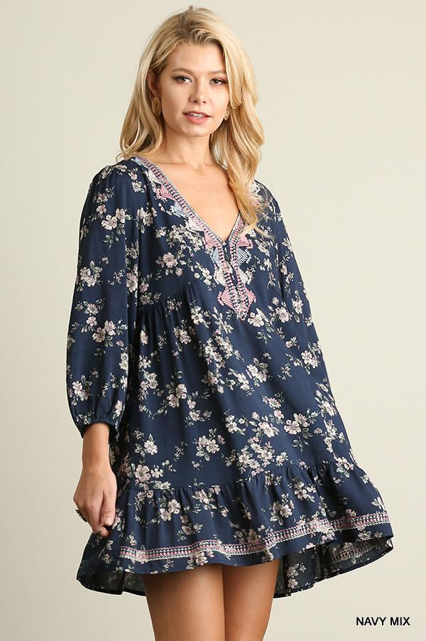 All It Takes Dress - Navy - Umgee - Dress - Angel Heart Boutique  - 1