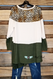 In The Running Top - Olive/Leopard - SALE