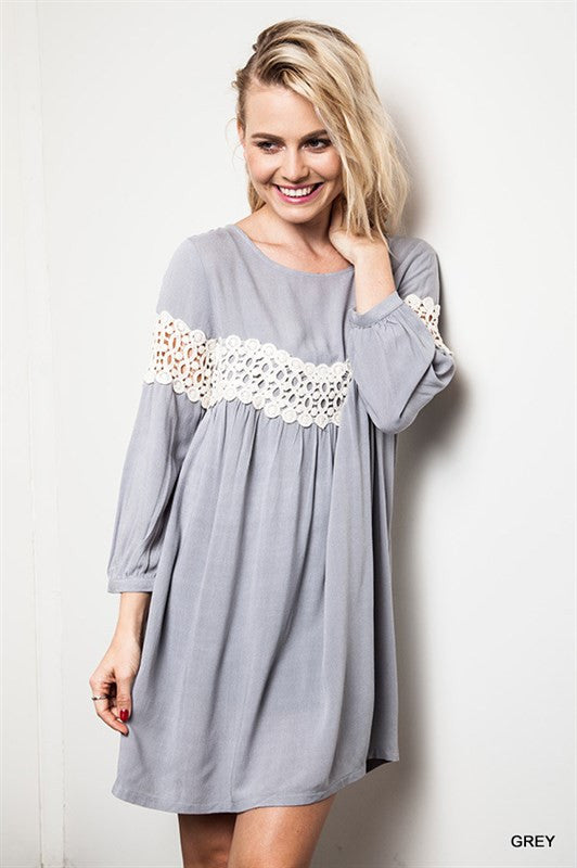 Just One Kiss Dress - Gray - Umgee - Dress - Angel Heart Boutique  - 1