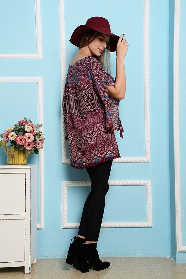 Inca Boho Soul Top - Burgundy - SALE - Angel Heart Boutique - Top - Angel Heart Boutique  - 2