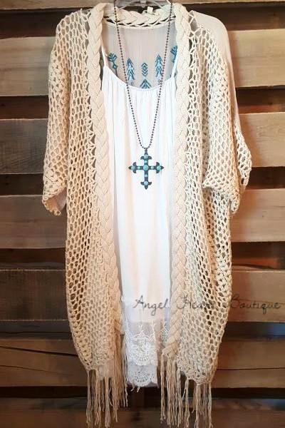 Follow Your Arrow Cardigan - Natural - Kori America - kimono - Angel Heart Boutique  - 1